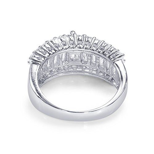 Peora 925 Sterling Silver Rhodium Cubic Zirconia Bling Baguette Cocktail Ring for Women and Girls