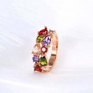 Kriosm Jewels Glittering Colors AAA Swiss Cubic Zirconia 18K Rose Gold Ring for Girls/Women