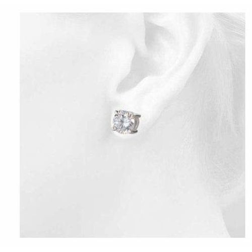 Somma 925 HALLMARKED Silver Rhodium Plated Made with Swarovski Zirconia Earrings for Women