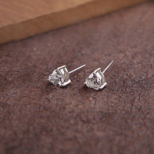 Ananth Jewels Somma Silver Swarovski Zirconia Heart Cut 6 mm Stud Earrings for Women
