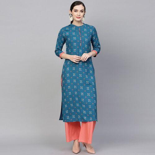Aks Women Printed Straight Kurta(Blue, White, Pink)