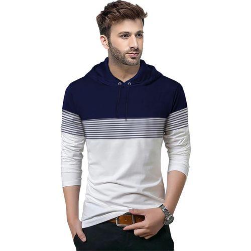 Tripr Striped Men Hooded Neck Dark Blue, White T-Shirt