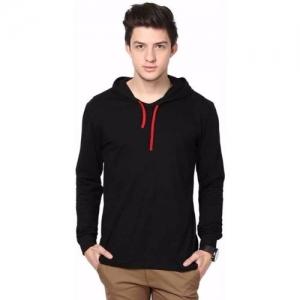 hero & piyush black solid Hooded T-Shirt
