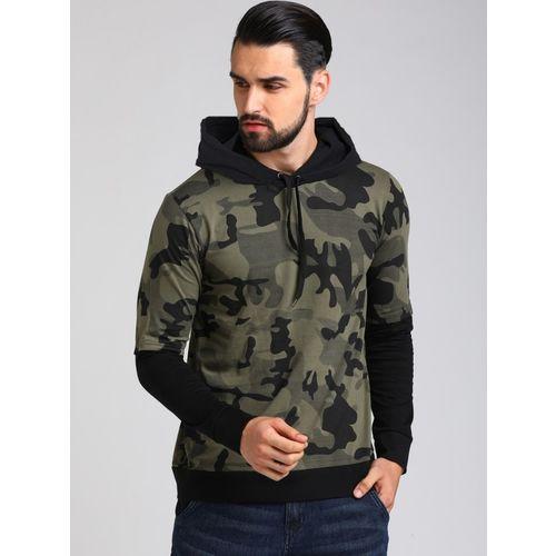 LEWEL Military Camouflage Men Hooded Neck Dark Green, Black T-Shirt