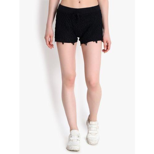 Kotty Solid Women Black Regular Shorts