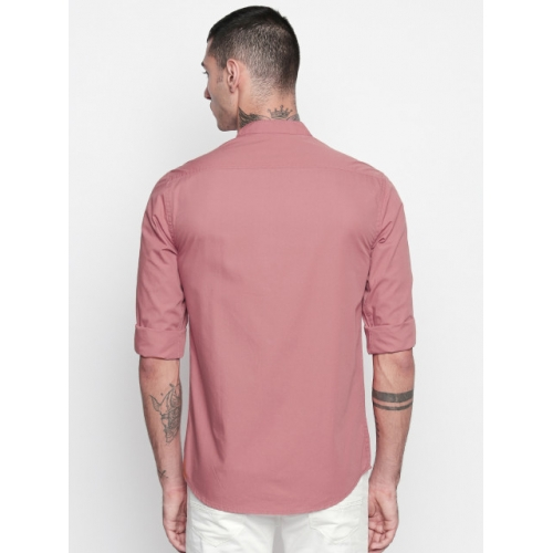 Dennis Lingo Pink Cotton Solid Full Sleeve Casual Shirt