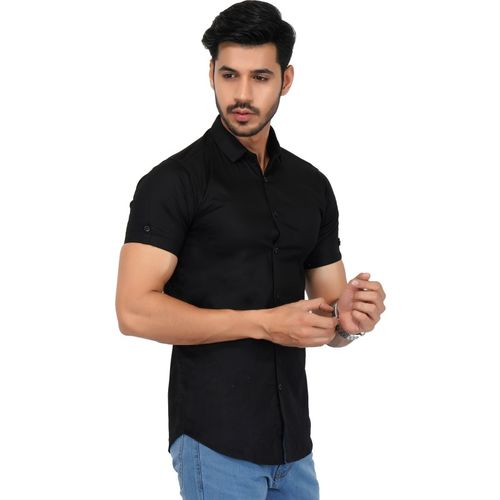 FabTag - Jai Textiles Men Solid Casual Black Shirt