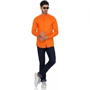 U TURN Orange Cotton Solid Full Sleeve Partywear Shirt