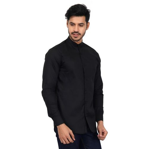 U TURN Men Solid Party Black Shirt