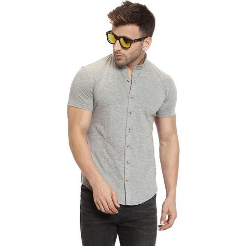 GESPO Men Solid Casual Grey Shirt