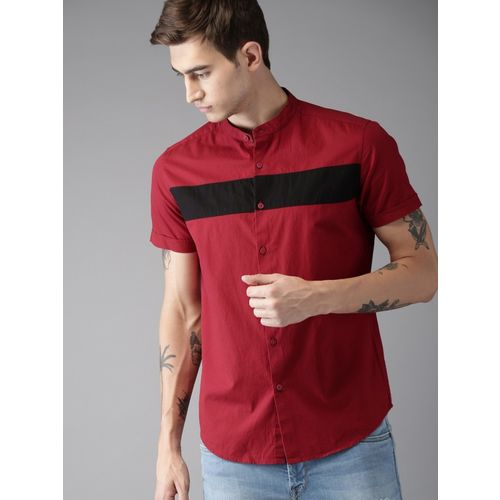 Tap in Men Color Block Casual Maroon Shirt