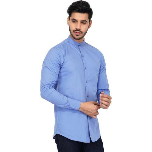 U TURN Men Solid Party Blue Shirt