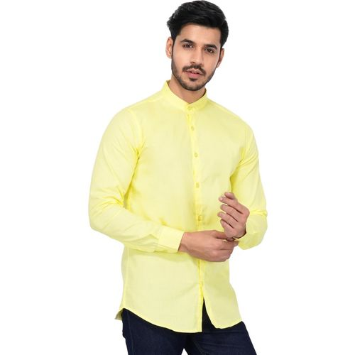 U TURN Men Solid Party Yellow Shirt