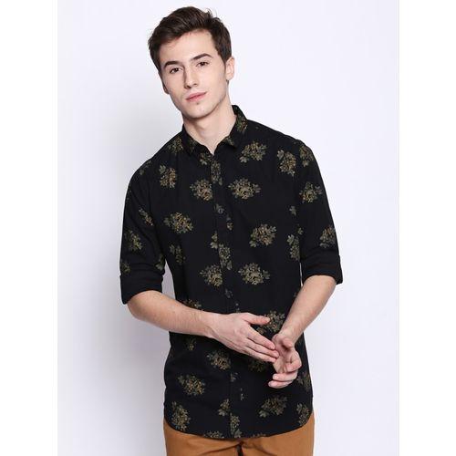 Dennis Lingo Men Floral Print Casual Black Shirt