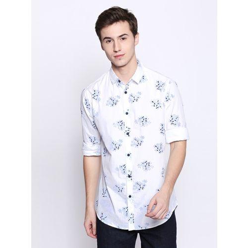 Dennis Lingo Men Floral Print Casual White Shirt
