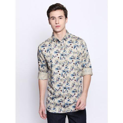 Dennis Lingo Men Floral Print Casual Brown Shirt