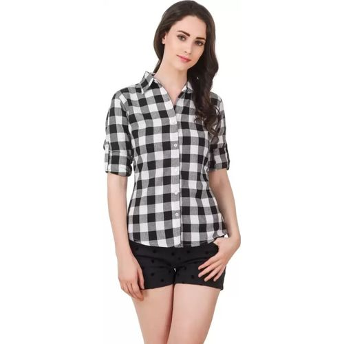 MOODY Women Checkered Casual Black Shirt
