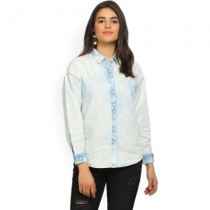 Wrangler Women Solid Casual White, Blue Shirt