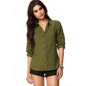 kanzul Women Solid Casual Dark Green Shirt