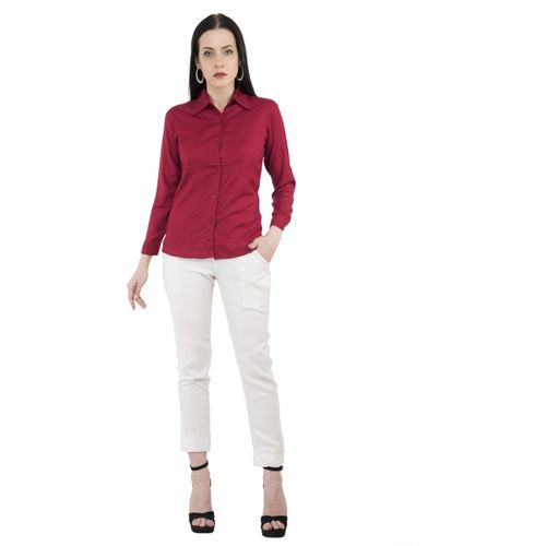 AF PREMIUM Women Solid Party Maroon Shirt