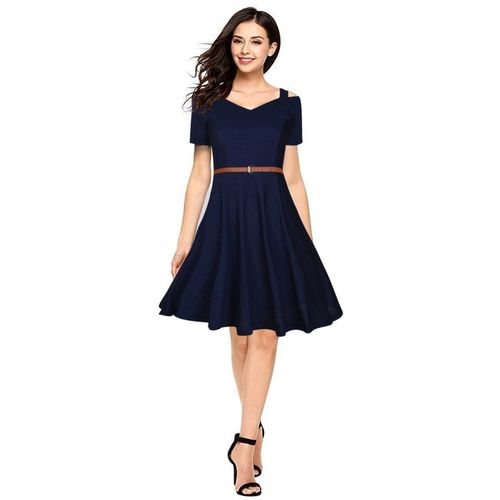 Aihole Women Skater Dark Blue Dress