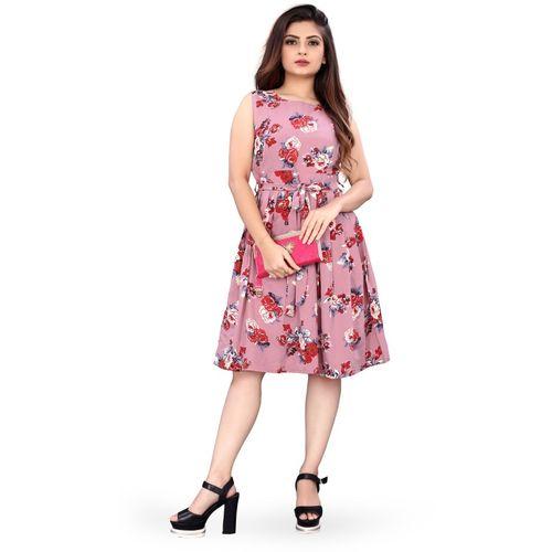 B4U Women Skater Pink Dress
