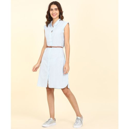 Provogue Women Shirt Light Blue, White Dress