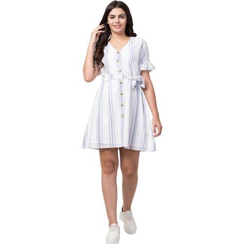 TATUM Women Fit and Flare White Dress