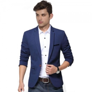 One Click Solid Single Breasted Wedding Men Blazer(Blue)