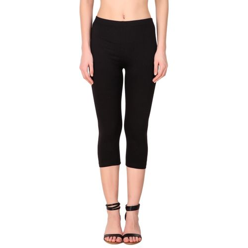 Nandani Online Fashion Stylish Cotton Black Capri For Women / Girls |Extra Soft & Slim Fit | (Size-XXL) Women Black Capri