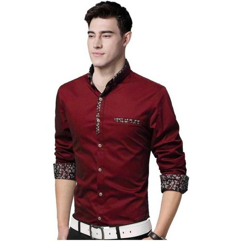 Z Axis Men Self Design Formal Red Shirt