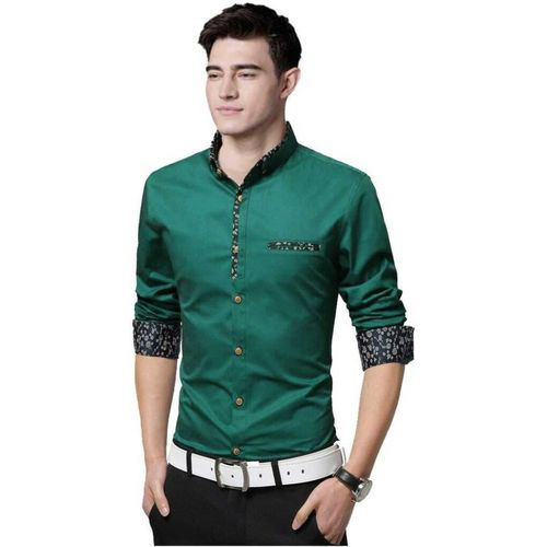 Z Axis Men Self Design Formal Green Shirt