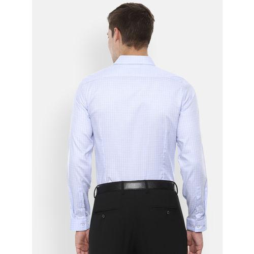 Louis Philippe Men Blue & White Super Slim Fit Checked Formal Shirt