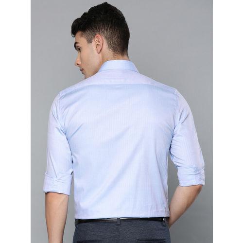 Louis Philippe Men Blue Classic Regular Fit Self Design Formal Shirt