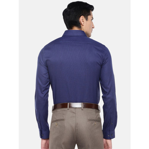 Turtle Men Blue Relaxed Slim Fit Solid Formal Shirt