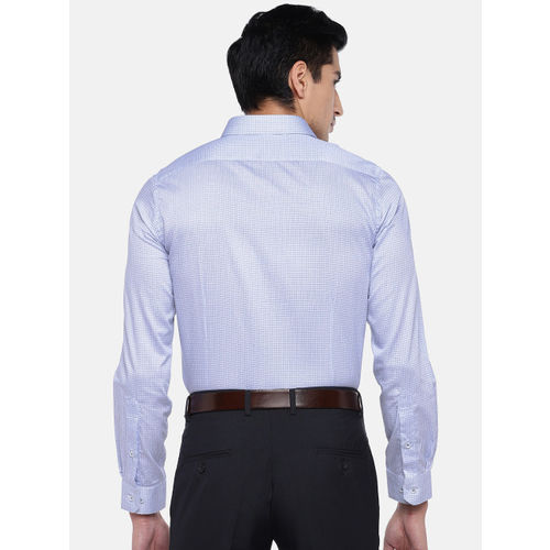 Turtle Men Blue Relaxed Slim Fit Printed Formal Shirt