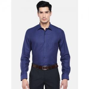 Turtle Men Blue Relaxed Slim Fit Self Design Giza Cotton Formal Shirt