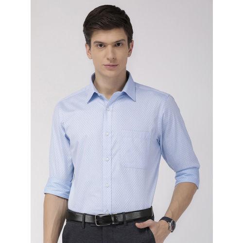 Raymond Men Blue & White Slim Fit Self Design Formal Shirt