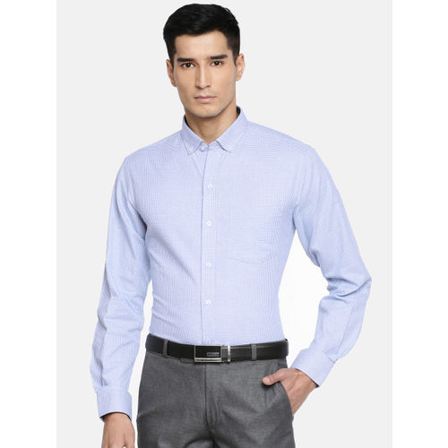 John Players Men Blue & White Checked Slim Fit Formal Shirt