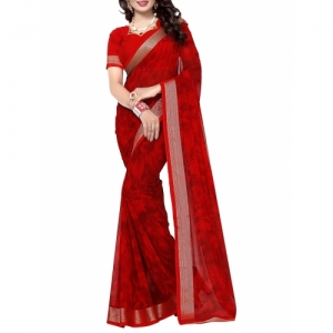 Oomph! cherry red printed saree with blouse