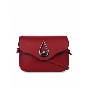 Bagkok Red Polyurethane Solid Sling Bag