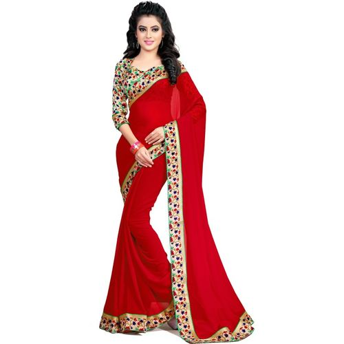 Indianbeauty Embroidered, Solid Fashion Chiffon Saree(Red)