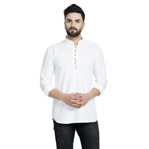 BONTEBOK Men's Solid Straight Kurta(White)