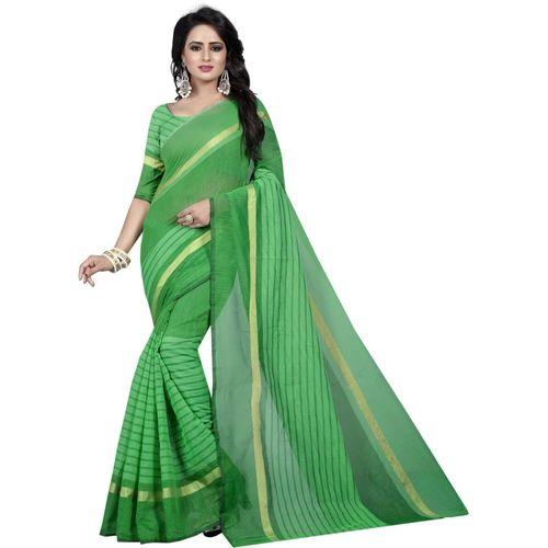 Tishnagi Designer Self Design, Striped, Woven, Solid Fashion Cotton Blend, Art Silk, Poly Silk Saree(Green)
