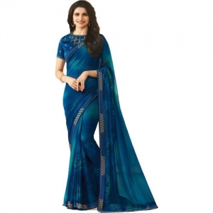 Bombey Velvat Fab Printed Fashion Poly Georgette, Chiffon Saree(Blue)