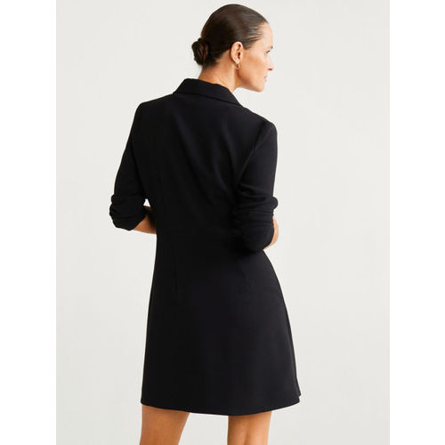 MANGO Women Black Solid Wrap Dress