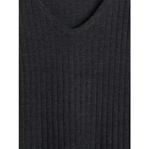 MANGO Women Charcoal Grey Solid Sweater Dress