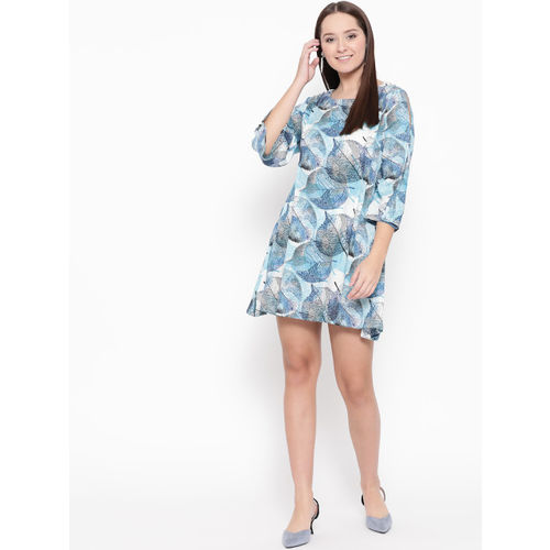 Raano Women Blue & White Printed A-Line Dress