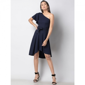 FabAlley Women Blue Solid Fit and Flare Dress