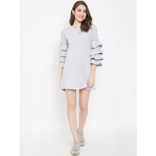 Berrylush Women Grey Solid Fit and Flare Dress
